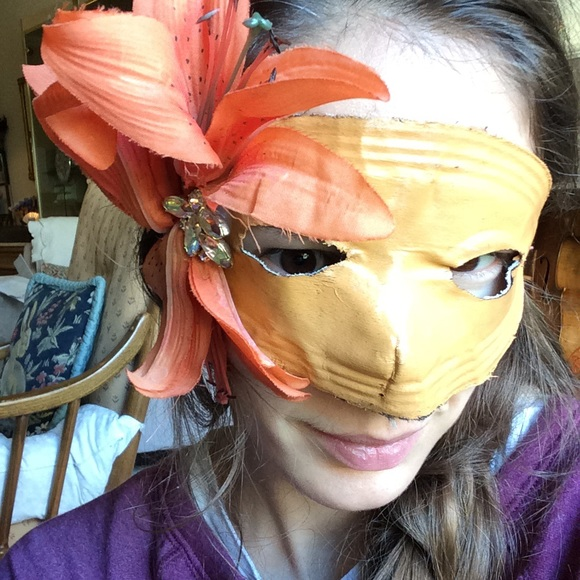 Vintage Accessories - Rhinestone Lilly Orange Masquerade Mask Halloween